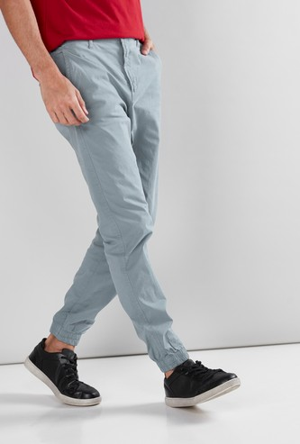 Pocket Detail Jog Pants in Regular Fit with Button Closure