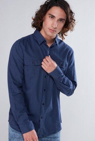 قميص سليم فيت بأكمام طويلة وجيوب