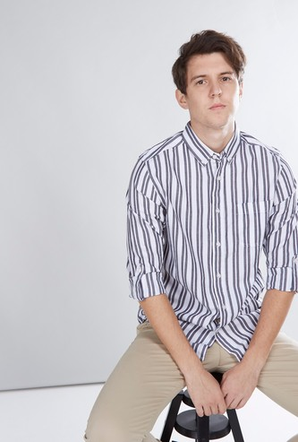 Striped Collared Shirt with Long Sleeves