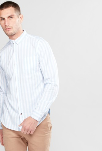 Vertical Striped Shirt with Long Sleeves and Complete Placket