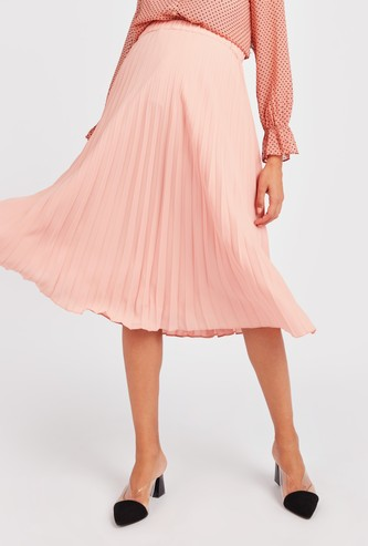 Textured Midi Skirt with Pleat Detail and Elasticised Waistband