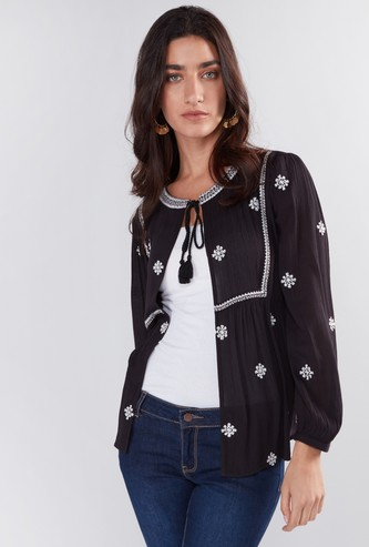Embroidered Shrug with Long Sleeves and Tie Up