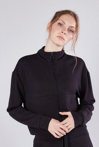 High Neck Jacket with Kangaroo Pockets and Long Sleeves
