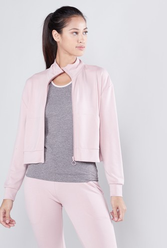 Plain Jacket with Long Sleeves and Zip Closure