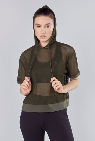 Mesh Detail Hooded T-shirt with Short Sleeves