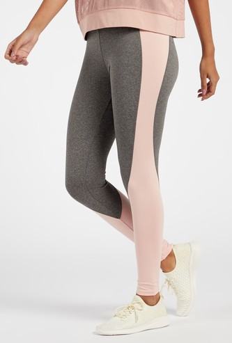 Panelled Full Length High-Rise Leggings with Elasticated Waistband