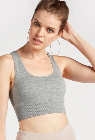 Slim Fit Textured Sports Bra with Criss Cross Back