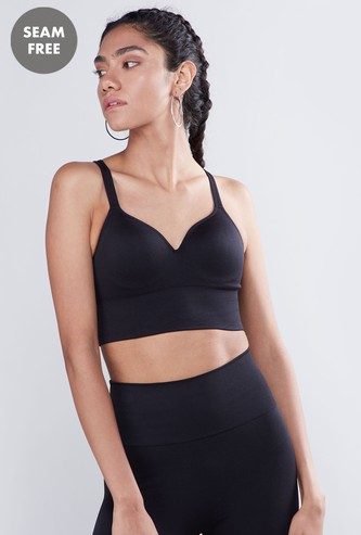 Plain Sports Bra with Hook and Eye Closure