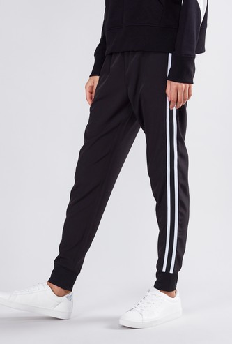 Slim Fit Striped Jog Pants with Elasticised Waistband