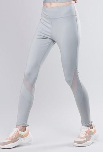 Plain Leggings with Sheer Panel