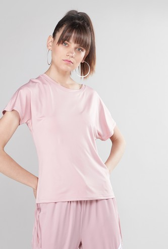 Solid Top with Short Sleeves and Ruched Detail