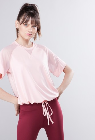 Textured Tunnel Waist T-shirt with Short Sleeves