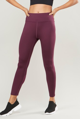 Solid Leggings with Mesh Panels