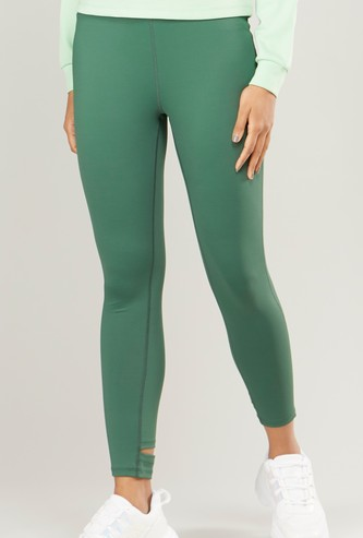 Slim Fit Plain Leggings with Elasticized Waistband