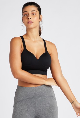 Slim Fit Solid Sports Bra with Adjustable Straps