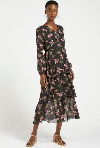فستان ميدي متعدد الطبقات بياقة حرف V وأكمام طويلة وطبعات زهرية