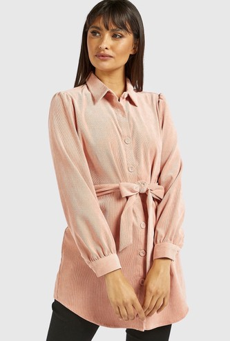 Solid Tunic with Long Sleeves and Tie-Ups