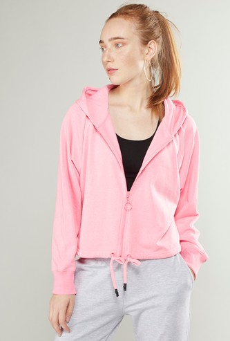 Oversized Sweat Top with Hood and Tie Ups