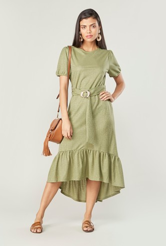 Plain Midi Dress with Short Sleeves and Asymmetric Hem