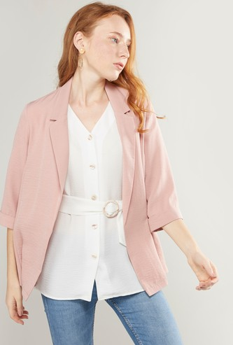 Solid Lapel Blazer with 3/4 Sleeves