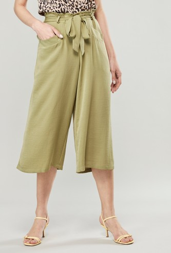 Solid Mid-Rise Culottes with Pocket Detail and Paperbag Waist