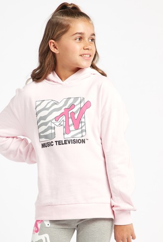 MTV Print Hoodie with Long Sleeves