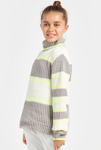 Striped Sweater with Turtle Neck and Long Sleeves