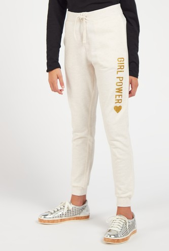 Embellished Full Length Joggers with Drawstring Closure