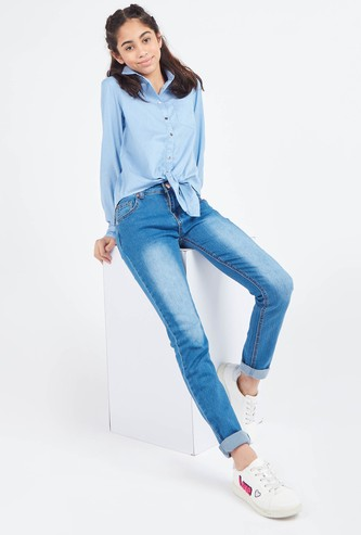 Solid Tie-Front Shirt with Spread Collar and Long Sleeves