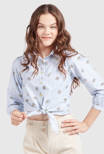 Daisy Flower Print Shirt with 3/4 Sleeves and Front Knot Detail
