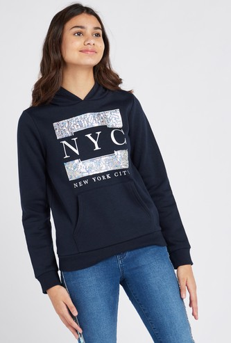 Embellished Sweat Top with Long Sleeves and Hood