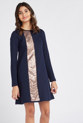 Sequin Panelled Mini Dress with Round Neck and Long Sleeves