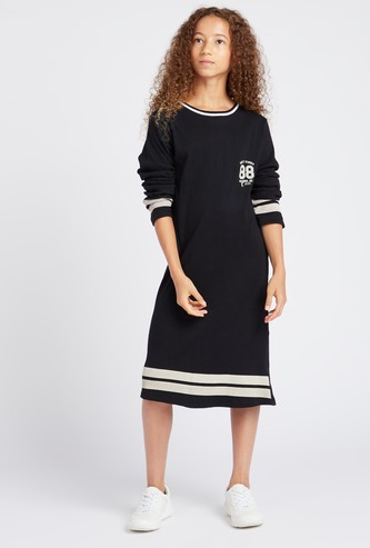 Printed Midi Boucle Rib Dress with Round Neck and Long Sleeves