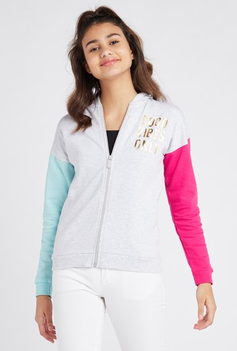 Textured Jacket with Colourblock Long Sleeves and Hood