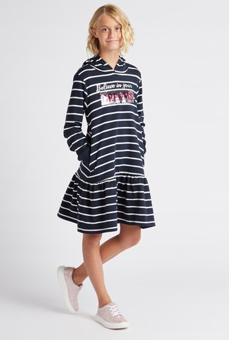 Striped Mini Dress with Sequin Detail and Hood