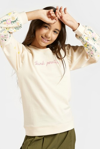 Floral Print Sweat Top with Round Neck and Long Sleeves