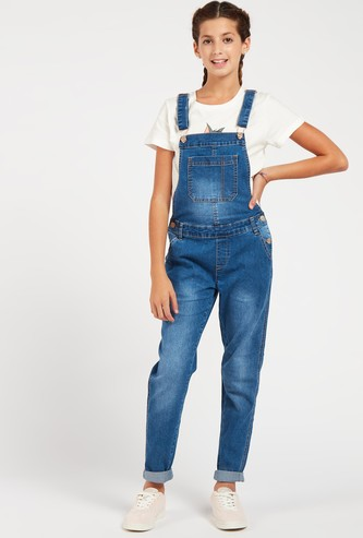 Solid Dungaree with Adjustable Shoulder Straps and Pockets