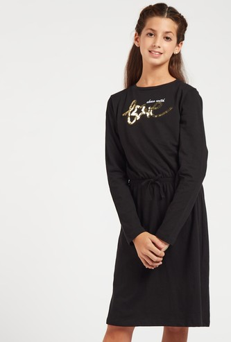 Embellished Knee Length Dress with Long Sleeves and Round Neck