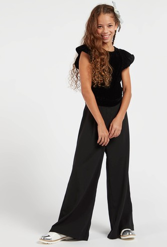 Full Length Solid Jumpsuit with Round Neck and Ruffle Sleeves