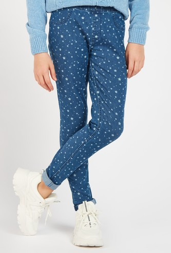 Star Print Full Length Jeggings with Elasticised Waist