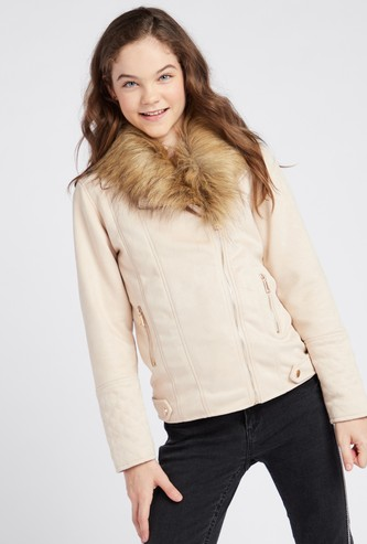 Suede Fur Collared Biker Jacket with Long Sleeves