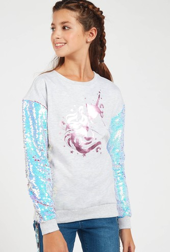 Embellished Unicorn Sweatshirt with Long Sleeves