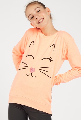 Printed Round Neck Sweatshirt with Long Sleeves
