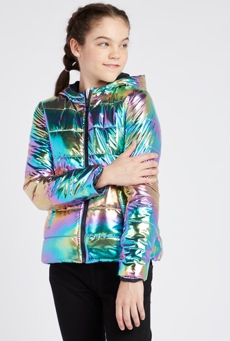 Puffed Metallic Jacket with Long Sleeves