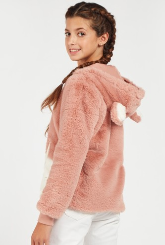 Bunny Plush Hoodie Jacket with Applique Detail