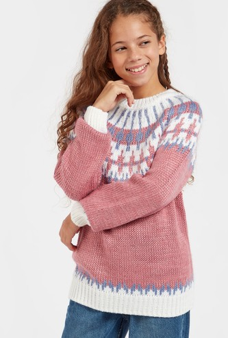 Fairisle Circular Yoke Print Sweater with Long Sleeves