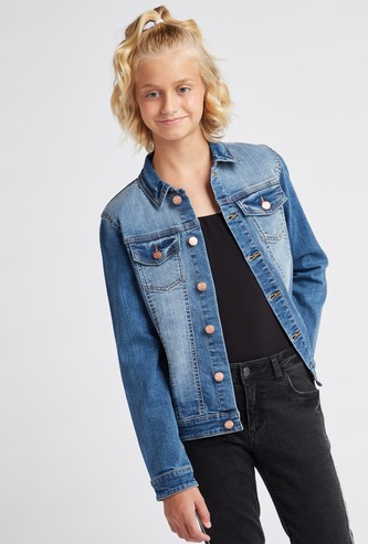 Textured Denim Jacket with Long Sleeves and Flap Pockets