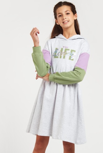 Embellished Long Sleeves Sweat Dress with Hooded Neck