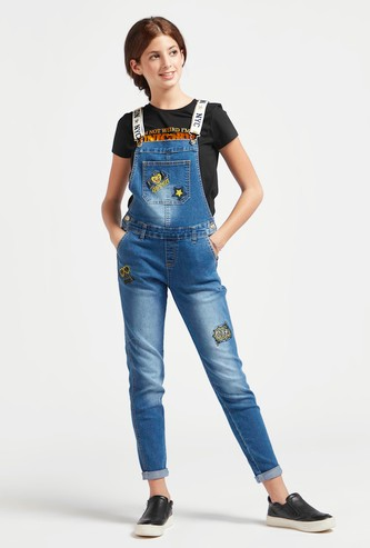 Embroidered Detail Dungarees with Printed Straps