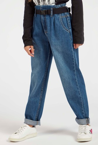 Full Length Textured Jeans with Pockets and Belt